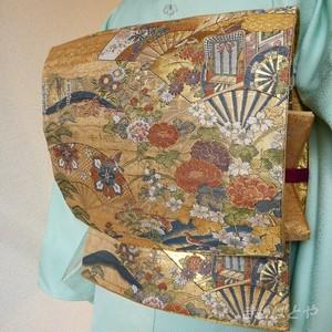 正絹 金地に花鳥の袋帯
