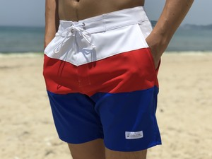 Threeborder Board Shorts(white×blue)