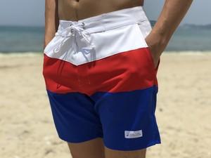 Threeborder Board Shorts(white×blue)