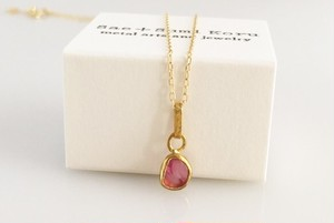 K24 Pure Gold+Raw Pink Spinel◆純金 ピンクスピネル原石ペンダントトップ