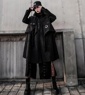 ゴシック ジャケット コート フード付き 膝下丈 デカボタン リングポケット 黒コーデ 病み可愛い 原宿系 ストリート系 韓国 オルチャン