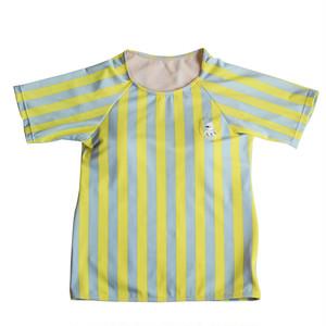 <単品> レディース レモン×グレー ストライプTシャツ型水着 トップス WL-07YT