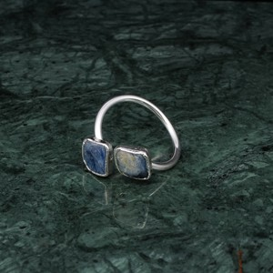 DOUBLE STONE RING SILVER