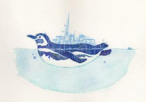 【南極ホタル堂】 原画「ペンギン艦-むらさめ -」