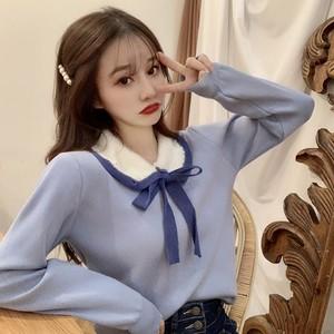 【トップス】春秋新作韓国風合わせやすい ゆったり人気ファッション長袖 ニットシャツ