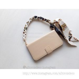 【I-phoneXs,X,etc】スカーフハンドルケース ブラックゴールド