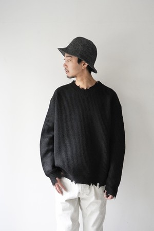 【BOTTLES】OI-N001 DAMAGE KNIT V/N
