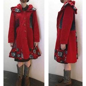 S~Lサイズ【イタリア製古着】ヴィンテージ◆ウール80%◆変形襟◆赤にグレー◆コート【中古】