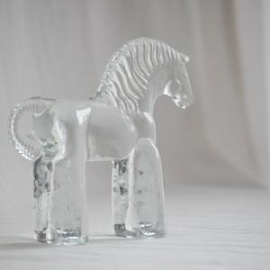Bertil Vallien KOSTA BODA SWEDEN Vintage glass horse figurine Zoo series 1970s