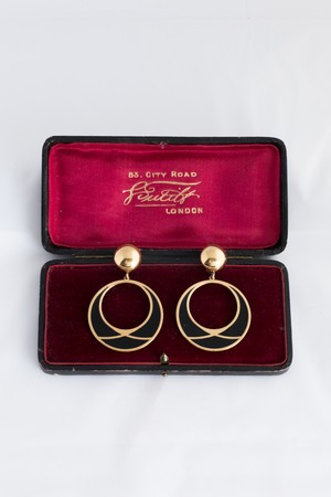 【Run Rabbit Run Vintage】Monet black & gold circle earring