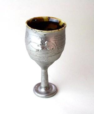 玳玻盞ワイングラスNO.2/プラチナ仕上げ /高級ワイングラス / 陶器 /陶芸家のうつわ /器 gallery
