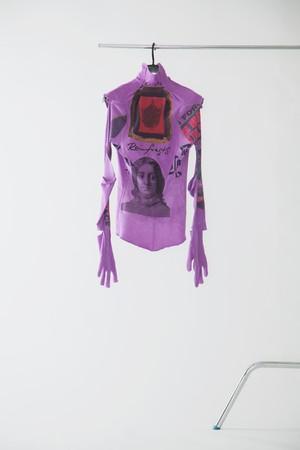 【FW20 先行受注】deadbodysuit (embroidery) 〈purple / burgundy〉