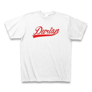 送料無料 ドリアンTシャツ Durianロゴ ホワイト×レッド  おもしろい パロディTシャツ【DTLWXL】