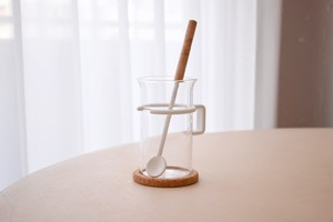 Bodum tall coffee glass with muddler spoon&cork coaster