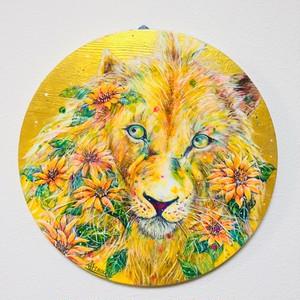 花丸 黄金ライオン 「表面と側面にレジン加工あり」