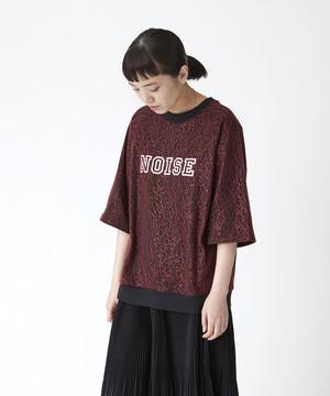 異素材重ねロゴプリントリブTシャツ(ブラック)