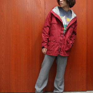 "~90s L.L.Bean mountain parka ""red×gray"""