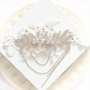 【受注生産品】スワロフスキー使用 クチュールレースとクリスタルボンネのヘッドドレス ブラン・アンシャンテ