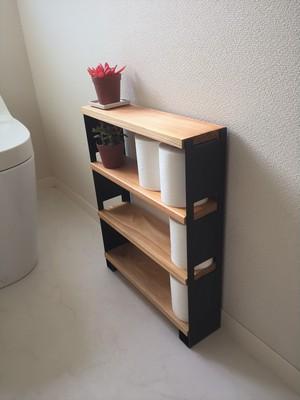 小型シェルフ 3段 ブラック(トイレ収納・小物ディスプレイ)
