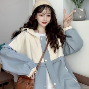 【アウター】ファッションスウィート学園風切り替え配色ジャケット