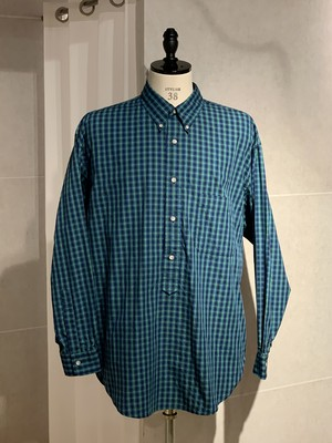 Marvine Pontiak shirt makers B.D P/O L/S SH Blue Green Check SH