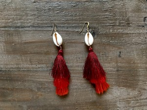 【14kgf】 Shell×tassel earrings(red)