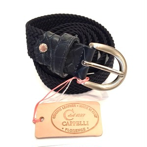 30MM SOLID ELASTIC MESH BELT NAVY(COCOJEAN LEATHER)