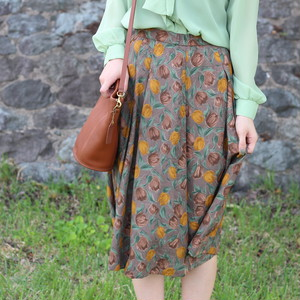 RETRO FLORAL PATTERNED ALL OVER SKIRT/レトロ古着花柄スカート