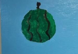 【絵画】すいか(風船のようにすいかが宙に浮かんでいます。)