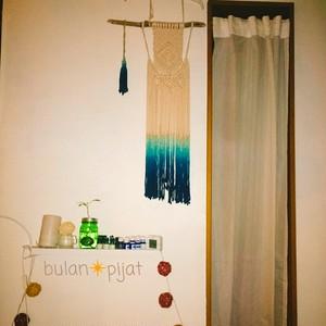 オーダー品 マクラメ編み壁掛けタペストリー 手編みコットンロープ タッセル