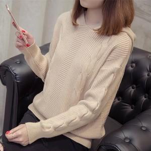【tops】ニットセーターシンプルゆったりフード付き着心地いい
