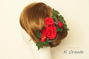 赤い薔薇のヘッドドレス(6本セット)