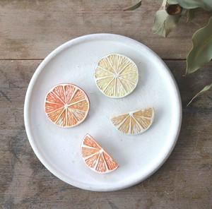 陶ブローチ:orange/lemon