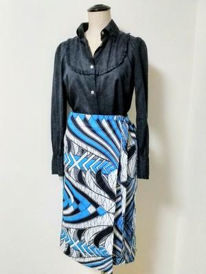 アフリカンプリント・ラップスカート(エスニック・ターコイズ)受注生産予約 5月下旬のお届けとなります