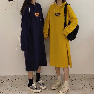 【ワンピース】大注目 シンプル プリント ストレートスカート フード付き カジュアルワンピース32913382