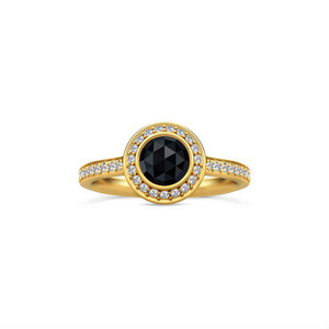 JULIE SANDLAU DIVA RING BLACK CRYSTAL