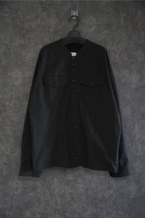 VOAAOV Organic Cotton Broad Collarless shirt Black