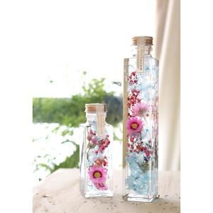 【夏のハーバリウム】 水色アジサイとピンクのローダンセ  大小セット