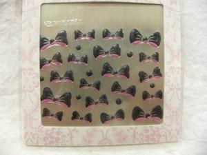 ネイルシール リボン ブラック&ピンク