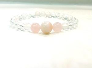 オリジナルデザイン 「10月誕生石 ピンクオパール ブレスレット」 お手入れ水晶&天然石解説書付き 女性用サイズ