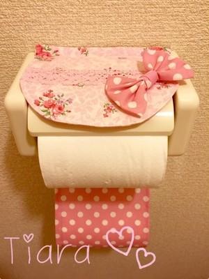 トイレットペーパーホルダー♡ばら柄ピンクドット