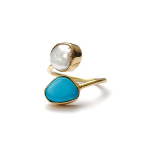 DOUBLE STONE RING BAROQUE PEARL & TURQUOISE