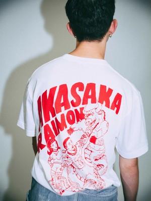 「赤坂らいもん」X「AUGGIE」X「UNKINDNESS TOKYO」コラボTシャツ 白Xレッド