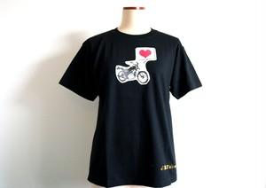 ラブバイク金箔ロゴ付きTシャツ ブラック