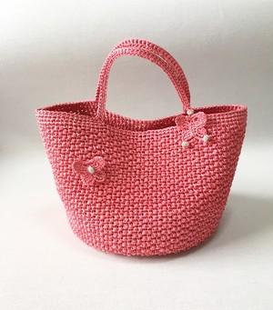 キラキラマルシエバッグ『Cool』桜ピンク 蝶々モチーフ付 =受注製作商品=