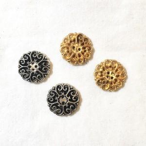 フランスボタン(ゴールド、シルバー フラワー)