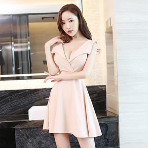 【dress】セレブリティvネック涼感あるセクシー3色ワンピース