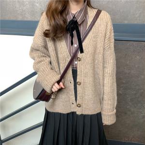 【セットアップ】レトロなストライプの長袖シャツ+ニットセーターカーディガン(単品注文)