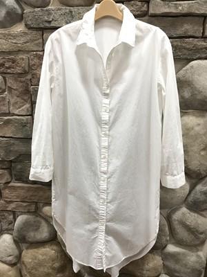襟ワイヤー入りロングシャツ(ホワイト)