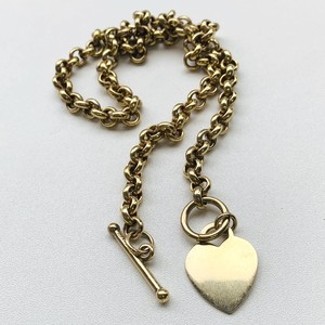 Italy シルバー925 GOLD トグルチェーン ネックレス with heart charm